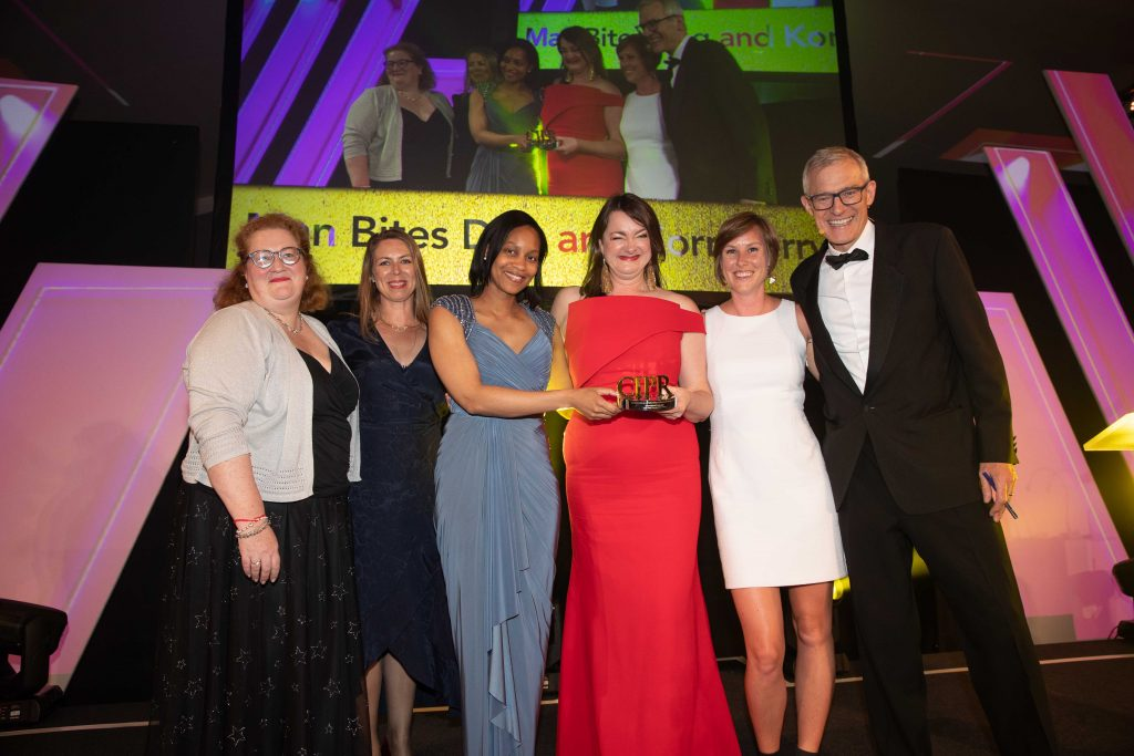 Man Bites Dog, Korn Ferry, CIPR and Jeremy Vine holding the Best International Campaign Mark of Excellence Award at 2019 CIPR Awards